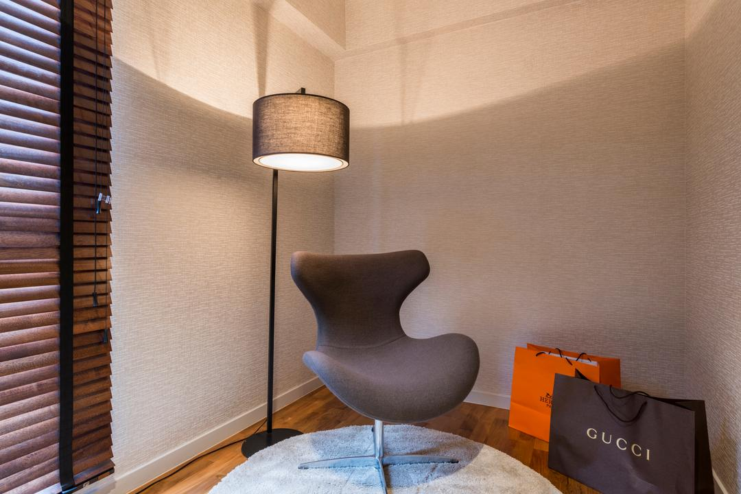 SkyTerrace @ Dawson (Block 92), Mr Shopper Studio, Contemporary, Bedroom, HDB, Couch, Nook, Cosy Nook, Standing Lamp, Floor Lamp, Armchair, Egg Chair, Designer Chair, Chair, Furniture, Lamp, Lampshade