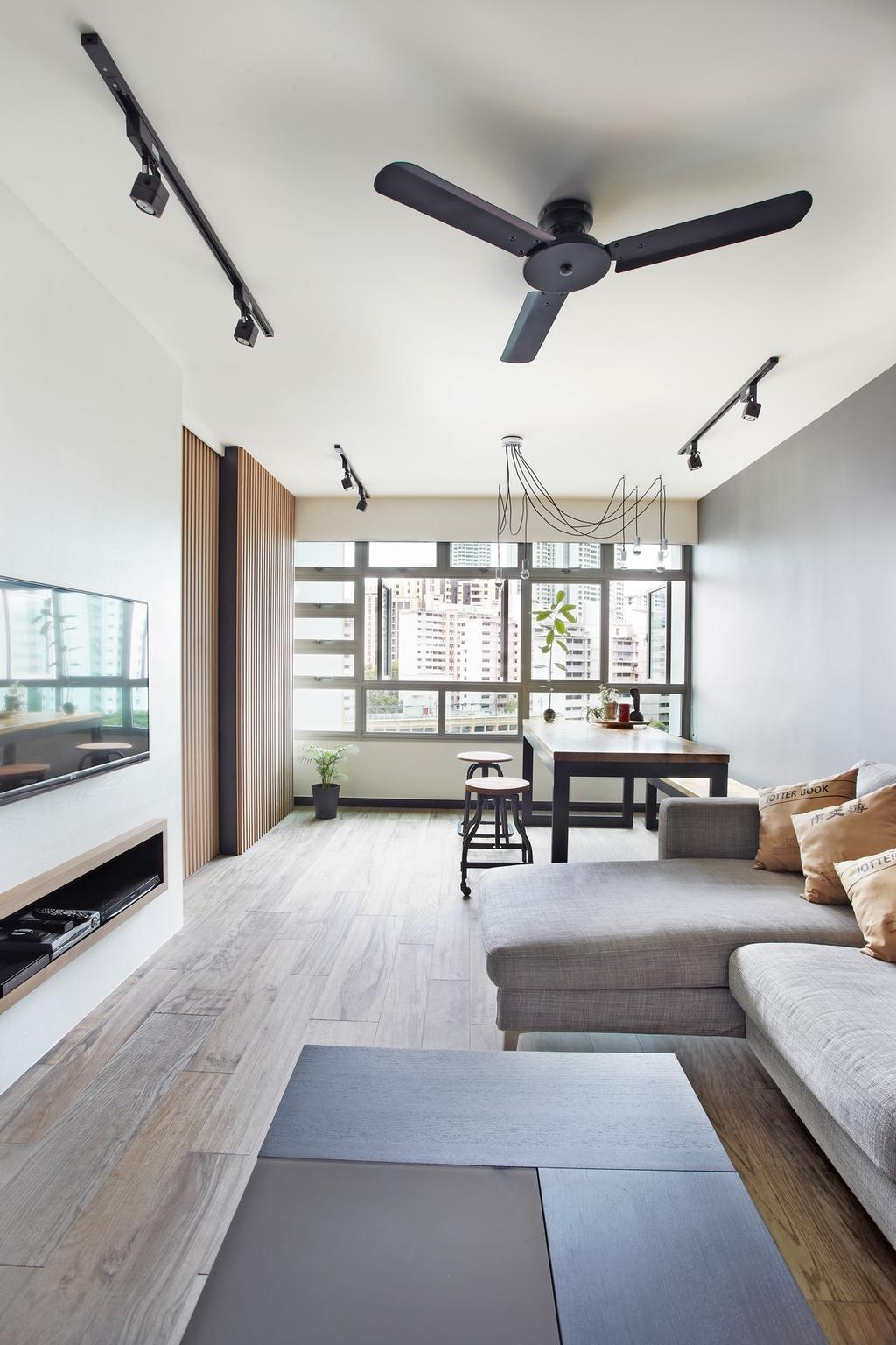 Scandinavian, HDB, Living Room, Ghim Moh Link, Interior Designer, Free Space Intent, Parquet Flooring, Wooden Flooring, Hanging Light, Trackie, Black Track Light, Dining Table, Furniture, Table, Indoors, Interior Design, Couch