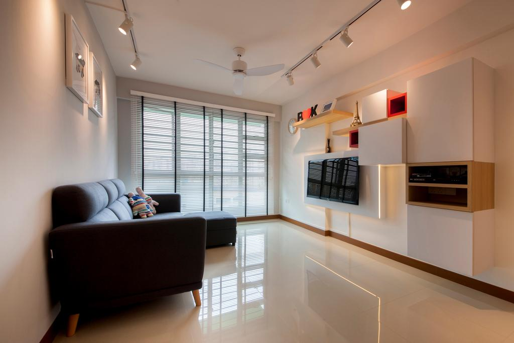 Minimalistic, HDB, Living Room, Punggol Drive (Block 676C), Interior Designer, Posh Home, Modern, Pencil Legs Sofa, Bright And Airy, Spacious, Clean Look, Streamlined, Clutter Free, Wall Mount Tv, Suspended Shelves, Wall Cabinet, Feature Wall, Storage And Feature Wall, Storage Wall, Venetian Blinds, Couch, Furniture, Indoors, Interior Design, Shelf