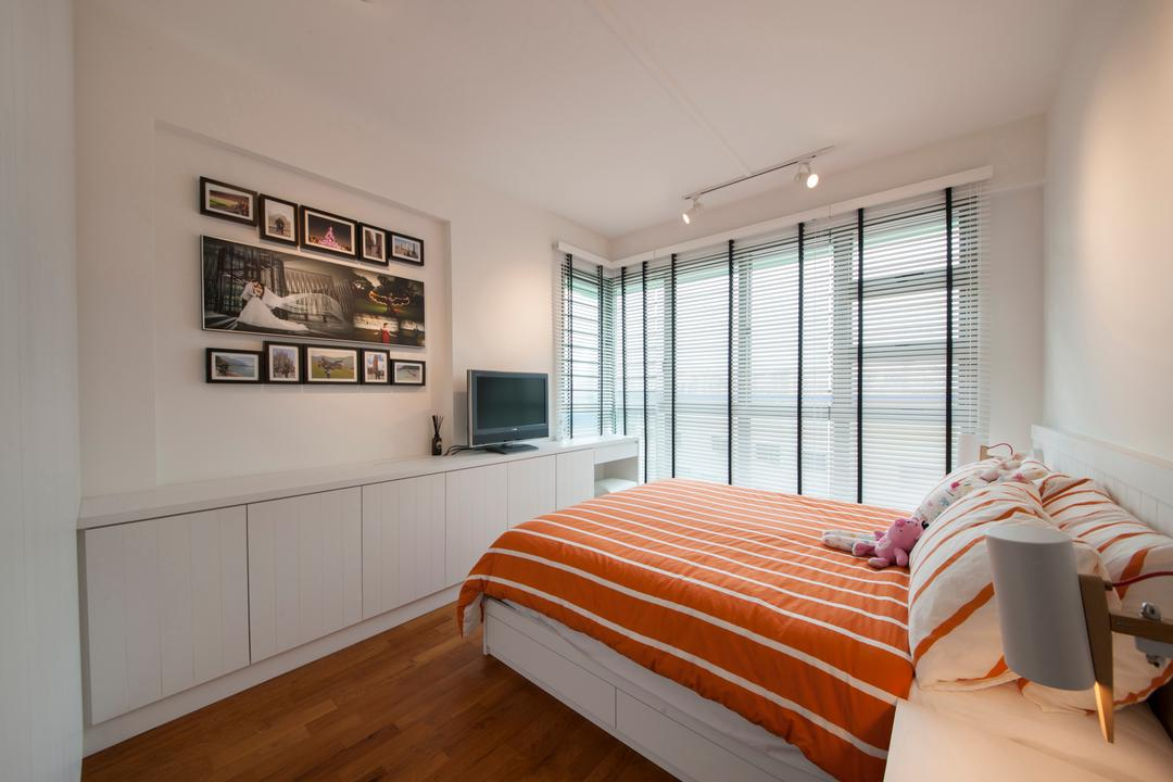 Punggol Drive (Block 676C), Posh Home, Minimalistic, Modern, Bedroom, HDB, White And Simple, White And Airy, Bright And Airy, Wall Frames, Gallery Wall, Photo Frames, Cabinet, Bed, Furniture, Art, Art Gallery, Indoors, Interior Design, Room, Chair