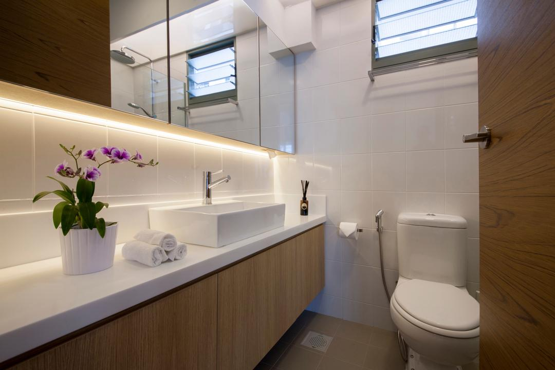 Punggol Drive (Block 676C), Posh Home, Minimalistic, Modern, Bathroom, HDB, Vanity Counter, Countertop, Potted Plant, Simple, Toilet, Architecture, Building, Skylight, Window, Indoors, Interior Design