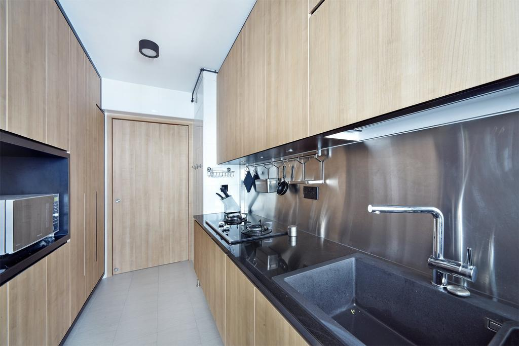 Scandinavian, HDB, Kitchen, Ghim Moh Link, Interior Designer, Free Space Intent, Wooden Laminate, Kitchen Tiles, Laminate, Sink, Tap, Indoors, Interior Design, Room