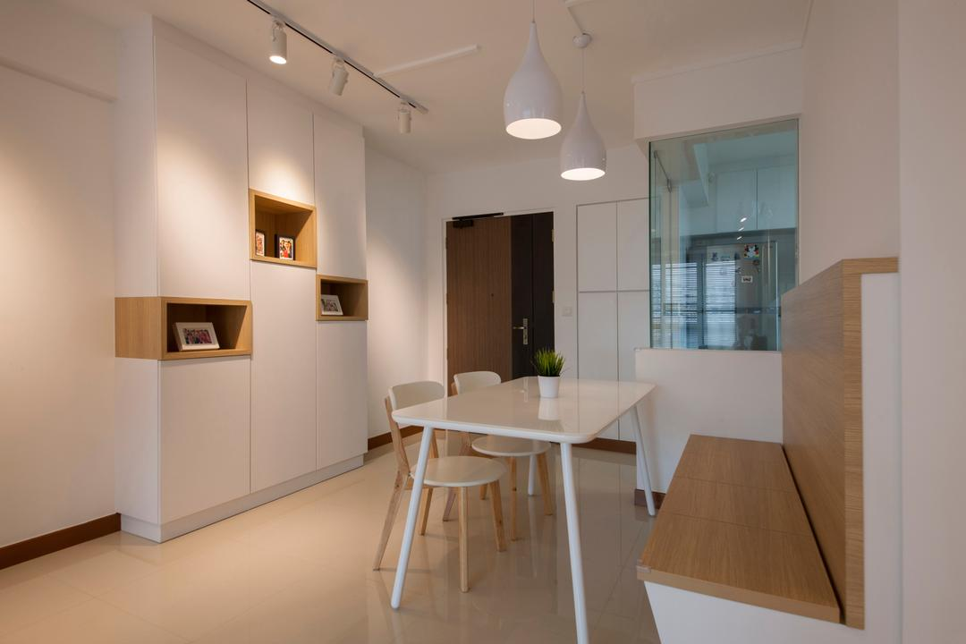 Punggol Drive (Block 676C), Posh Home, Minimalistic, Modern, Dining Room, HDB, White And Woody, White And Wood, Settee, Wall Settee, Storage Settee, Concealed Storage, Streamlined Design, Indoors, Interior Design, Room, Plywood, Wood, Dining Table, Furniture, Table