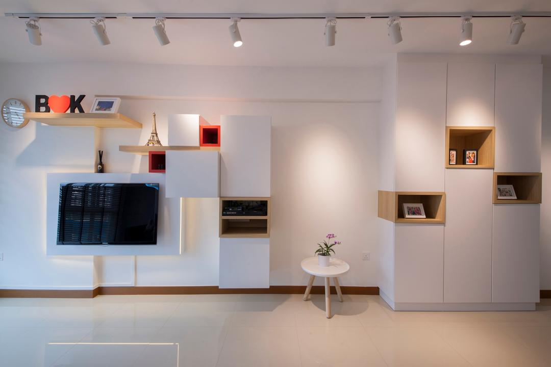 Punggol Drive (Block 676C), Posh Home, Minimalistic, Modern, Living Room, HDB, Spotlights, White Trackies, Trackies, White Tracklights, Wall Shelves, Cubbyhole, Cabinet, Coffee Table, White And Woody, Simple Design, Indoors, Interior Design