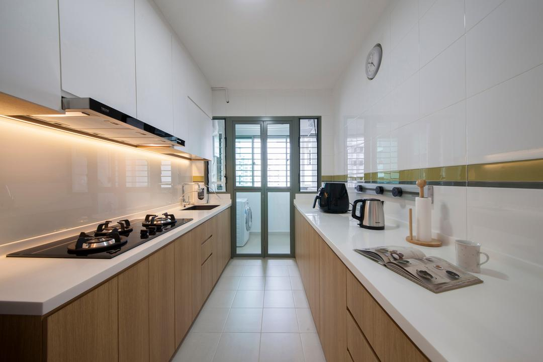 Punggol Drive (Block 676C), Posh Home, Minimalistic, Modern, Kitchen, HDB, Galley Kitchen, Gallery Kitchen, Parallel Layout, Linear Layout, Rectillinear, Easy To Clean, Easy To Maintain, Solid Countertop, Kitchen Countertop, White And Wood, Wall Tiles, Service Yard, Washing Machine, Stove, Hob, Indoors, Interior Design, Room