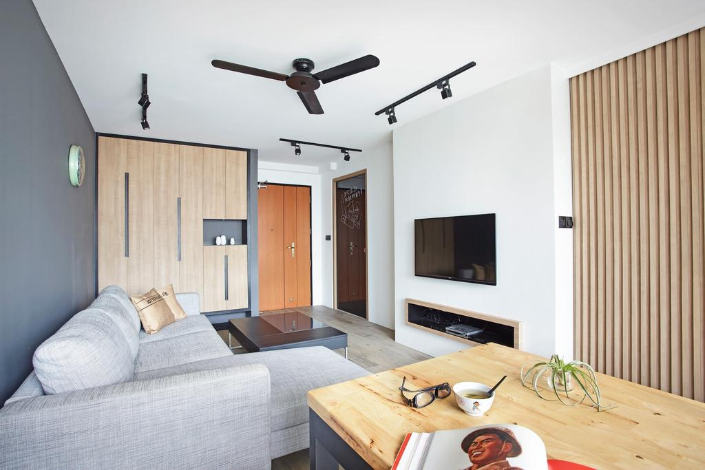 Scandinavian, HDB, Living Room, Ghim Moh Link, Interior Designer, Free Space Intent, Wooden Table, Track Light, Black Track Light, Track Lighting, Grey Wall, Gray Wall, Console, Couch, Furniture, Coffee Table, Table, Building, Housing, Indoors, Bedroom, Interior Design, Room