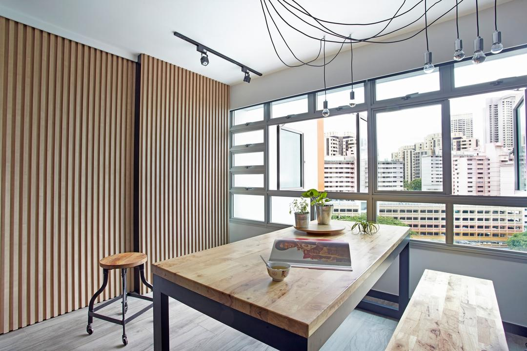 Ghim Moh Link, Free Space Intent, Scandinavian, Dining Room, HDB, Wooden Dining Table, Wooden, Hanging Light, Exposed Lightbulb, Parquet Flooring, Indoors, Interior Design, Room, Dining Table, Furniture, Table