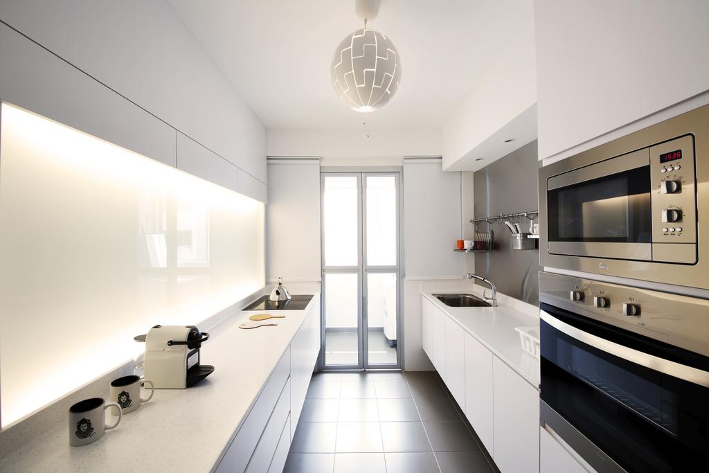 Retro, HDB, Kitchen, Anchorvale Link, Interior Designer, Free Space Intent, Hanging Light, Concealed Light, Kitchen Toles, White Laminate, Appliance, Electrical Device, Microwave, Oven