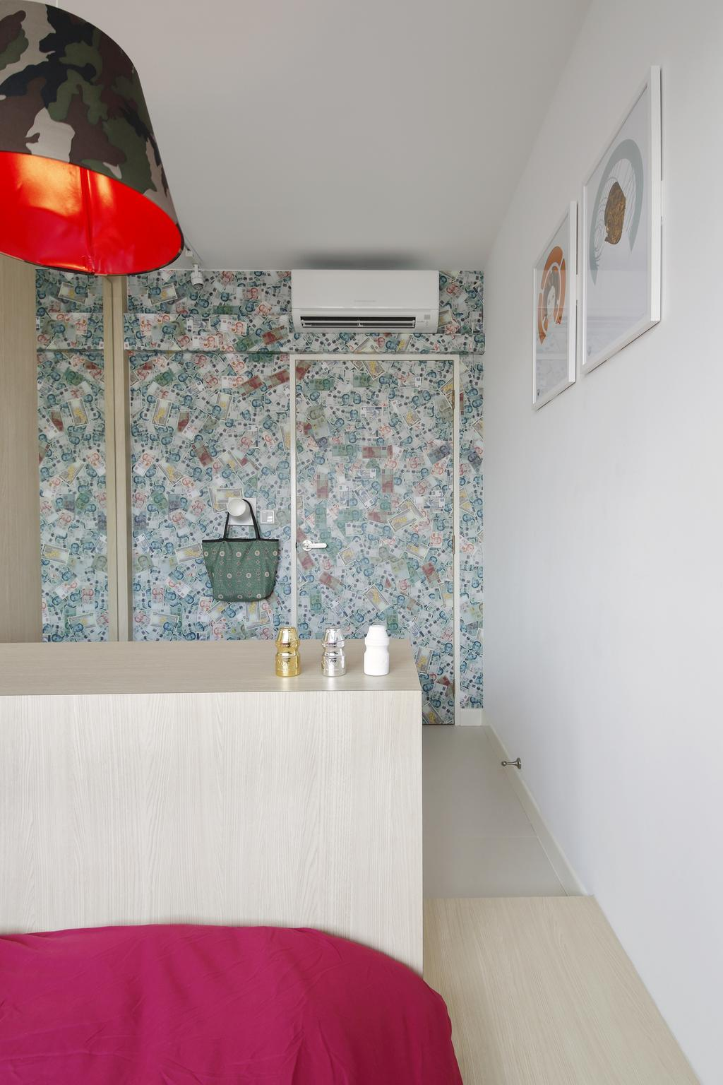 Retro, HDB, Bedroom, Anchorvale Link, Interior Designer, Free Space Intent, Wallpaper, Hanging Light, Wall Art, Picture Frame, Painting