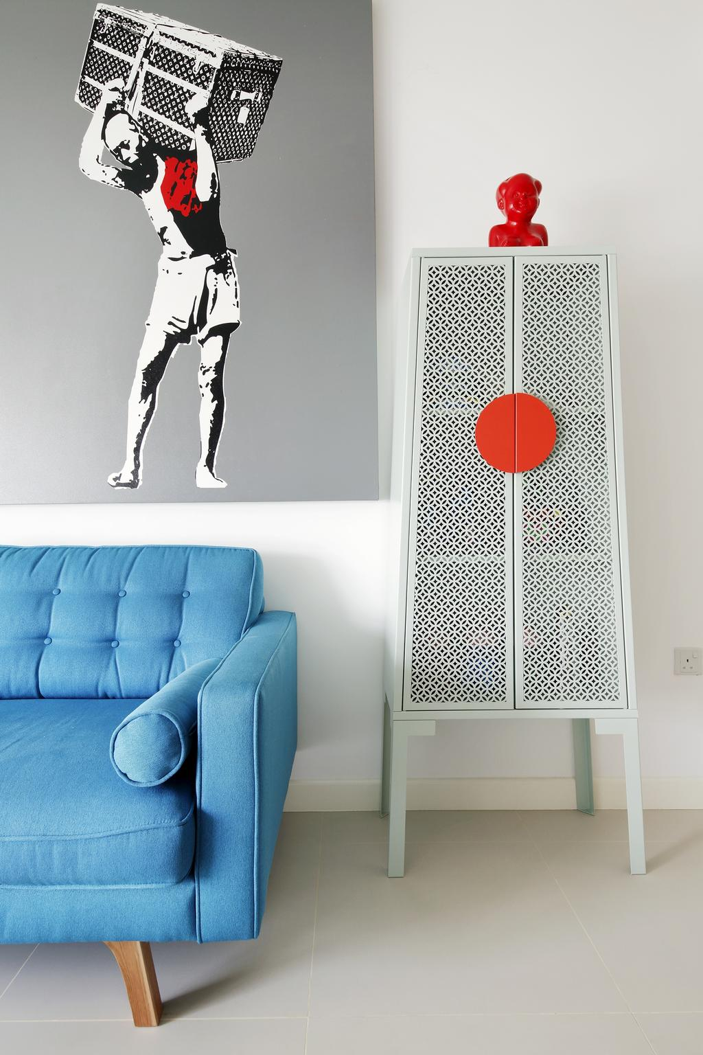 Retro, HDB, Living Room, Anchorvale Link, Interior Designer, Free Space Intent, Wall Art, Painting, Blue Sofa, Couch, Furniture, Chair