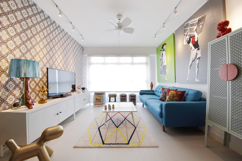 Retro, HDB, Living Room, Anchorvale Link, Interior Designer, Free Space Intent, Table Lamp, Wall Art, Paintings, White Track Light, Trackie, Track Lighting, Blue Sofa, Carpet, Laminate, Art, Sculpture, Couch, Furniture, Home Decor, Linen, Tablecloth, Indoors, Nursery, Room