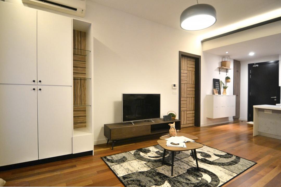 Six Ceylon, Kuala Lumpur, A Moxie Associates Sdn Bhd, Scandinavian, Living Room, Condo, Couch, Furniture, Coffee Table, Table, Electronics, Monitor, Screen, Tv, Television, Blackboard
