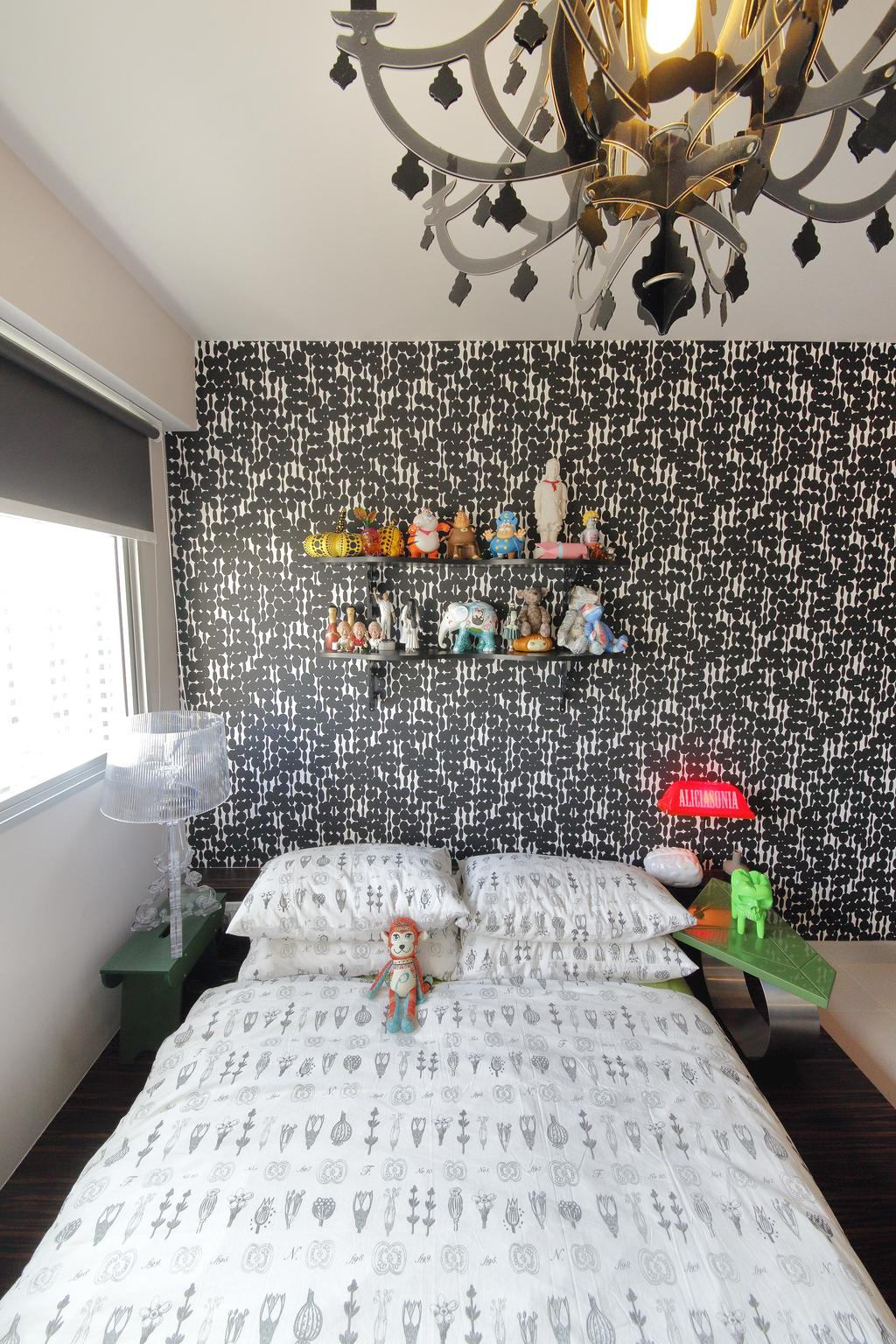 Retro, HDB, Bedroom, Anchorvale Link, Interior Designer, Free Space Intent, Chandelier, Wallpaper, Bedside Lamp, Table Lamp