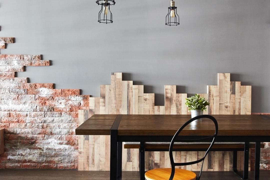 Punggol Walk, Free Space Intent, Industrial, Dining Room, HDB, Brick Wall, Parquet Flooring, Wooden Flooring, Exposed Lightbulb, Hanging Lights, Chair, Furniture, Bench