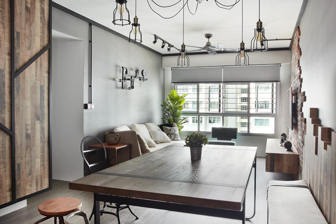 Punggol Walk, Free Space Intent, Industrial, Dining Room, HDB, Parquet Flooring, Wooden Flooring, Exposed Lightbulb, Hanging Light, Flora, Jar, Plant, Potted Plant, Pottery, Vase, Indoors, Interior Design, Room, Dining Table, Furniture, Table