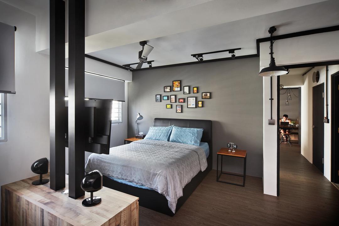 Punggol Walk, Free Space Intent, Industrial, Bedroom, HDB, Frames, Wall Art, Parquet Flooring, Wooden Flooring, Bedside Table, Console, Laminate, Door, Sliding Door