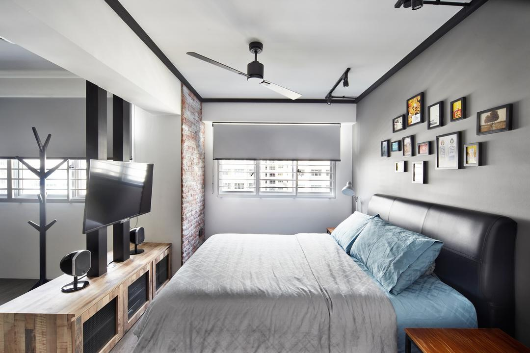 Punggol Walk, Free Space Intent, Industrial, Bedroom, HDB, Frames, Wall Art, Console, Wooden Console, Headboard, Dining Table, Furniture, Table, Building, Housing, Indoors, Loft, Interior Design, Room