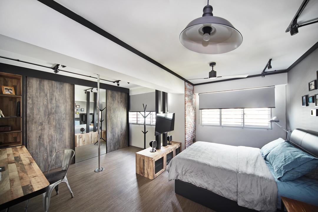 Punggol Walk, Free Space Intent, Industrial, Bedroom, HDB, Blinds, Parquet Flooring, Wooden Flooring, Frames, Wall Art, Chair, Furniture, Dining Table, Table, Indoors, Room