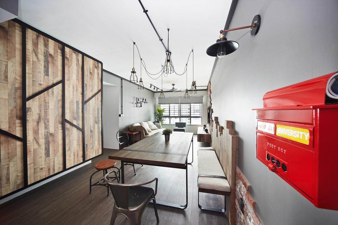 Punggol Walk, Free Space Intent, Industrial, Dining Room, HDB, Wooden Laminate, Hanging Light, Exposed Lightbulb, Chair, Furniture