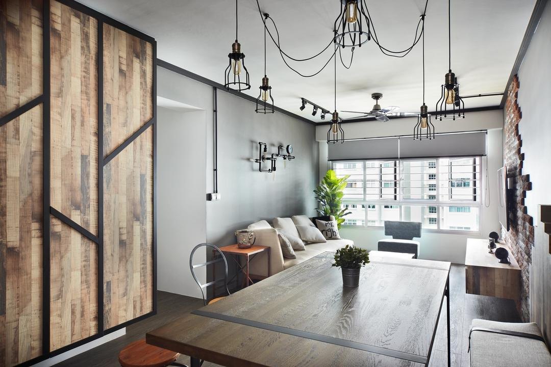 Punggol Walk, Free Space Intent, Industrial, Dining Room, HDB, Wooden Laminate, Laminate, Hanging Light, Exposed Lightbulb, Building, Housing, Indoors, Loft, Dining Table, Furniture, Table, Interior Design, Room