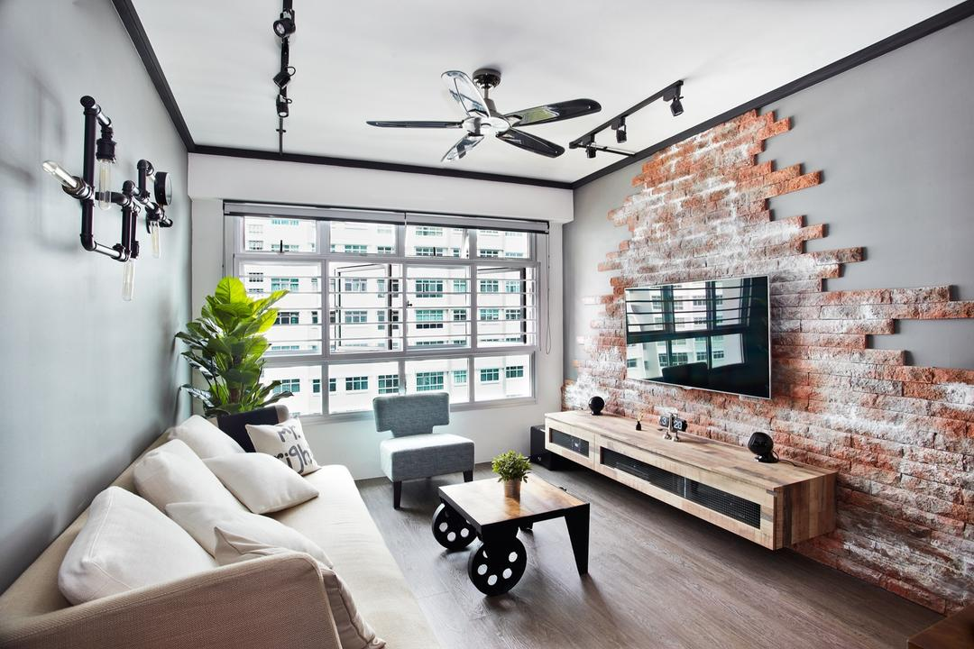Punggol Walk, Free Space Intent, Industrial, Living Room, HDB, Brick Wall, Console, Wooden Laminate, Coffee Table, Track Light, Trackie, Black Track Light, Furniture, Table, Flora, Jar, Plant, Potted Plant, Pottery, Vase, Building, Housing, Indoors, Loft, Room