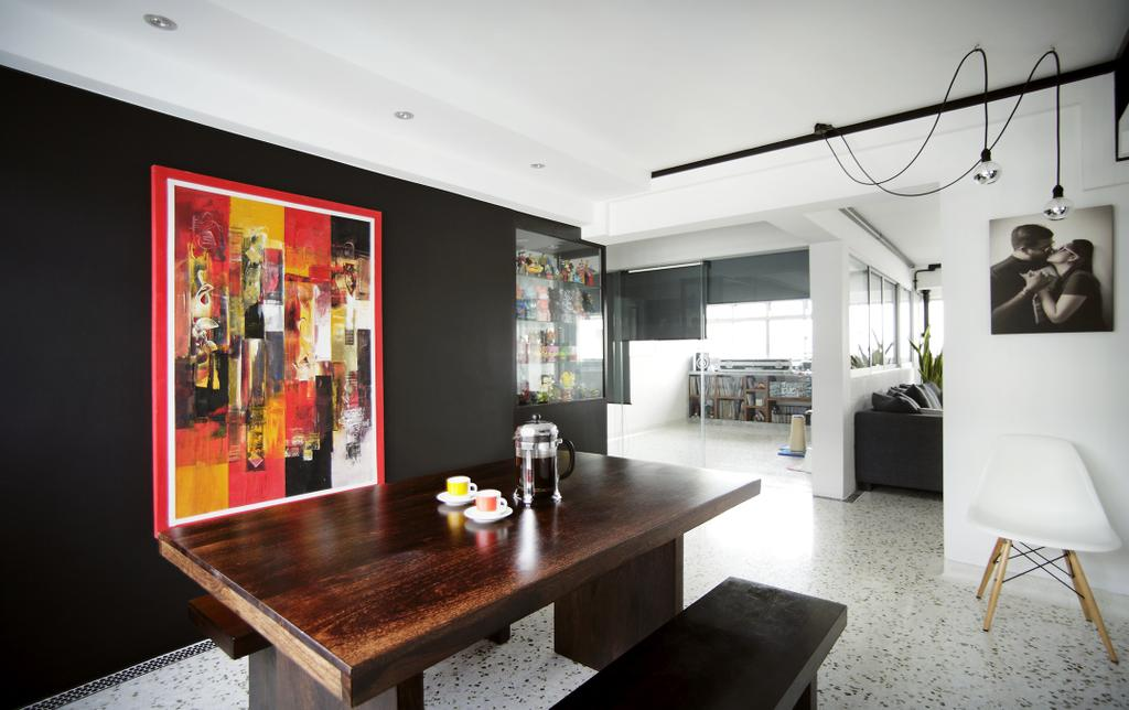 Eclectic, HDB, Dining Room, Ang Mo Kio, Interior Designer, Free Space Intent, Wall Art, Painting, Black Wall, Hanging Light, Wooden Table, Wooden Dining Tabl, Indoors, Interior Design, Room, Dining Table, Furniture, Table
