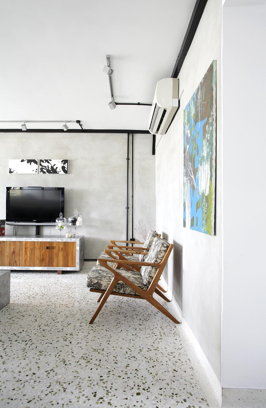 Eclectic, HDB, Living Room, Ang Mo Kio, Interior Designer, Free Space Intent, Console, Wooden Console, Wall Art, Paintings, Spotted Floor, Chair, Furniture
