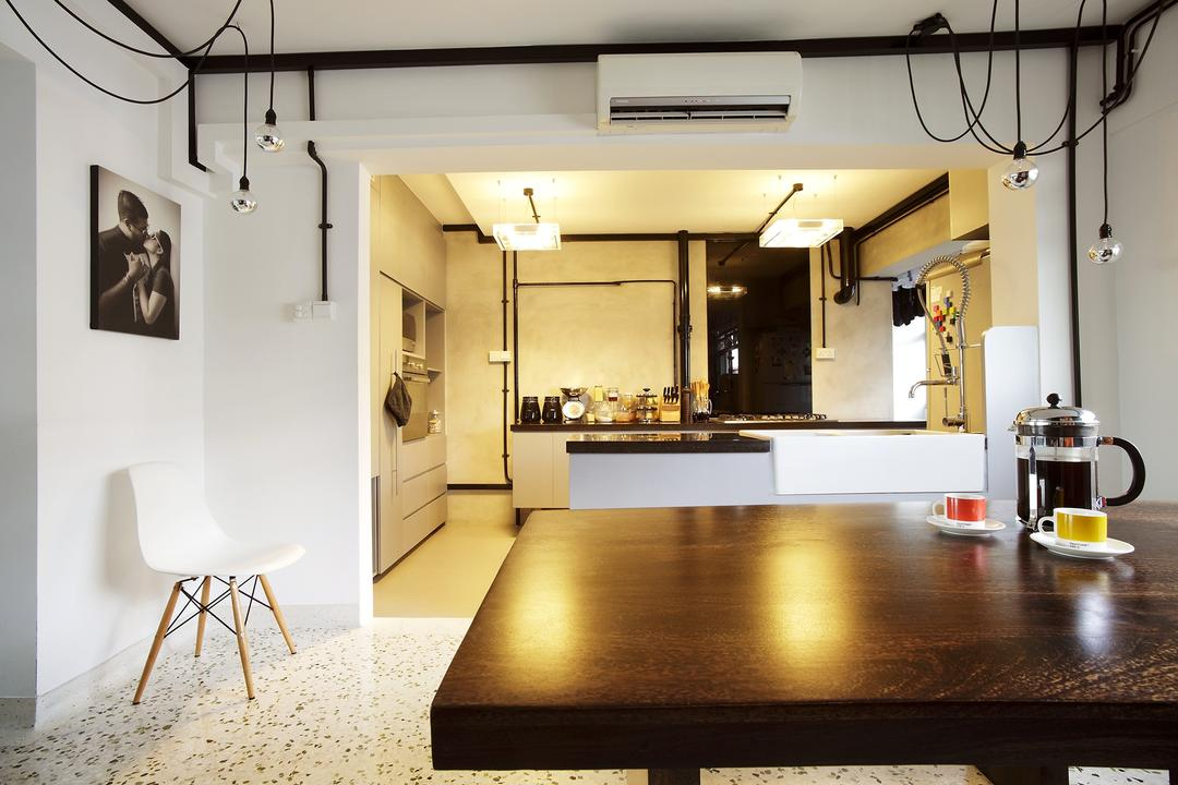 Ang Mo Kio, Free Space Intent, Eclectic, Dining Room, HDB, White Wall, Hanging Light, Exposed Bulbs, Woodnen Table, Dining Table, Bar Stool, Furniture, Building, Housing, Indoors, Loft, Chair, Interior Design, Room