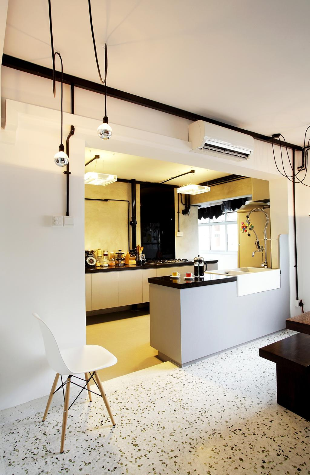Eclectic, HDB, Kitchen, Ang Mo Kio, Interior Designer, Free Space Intent, Hanging Lights, Drop Light, Exposed Bulb, White Wall, Spotted Floor, Building, Housing, Indoors, Loft