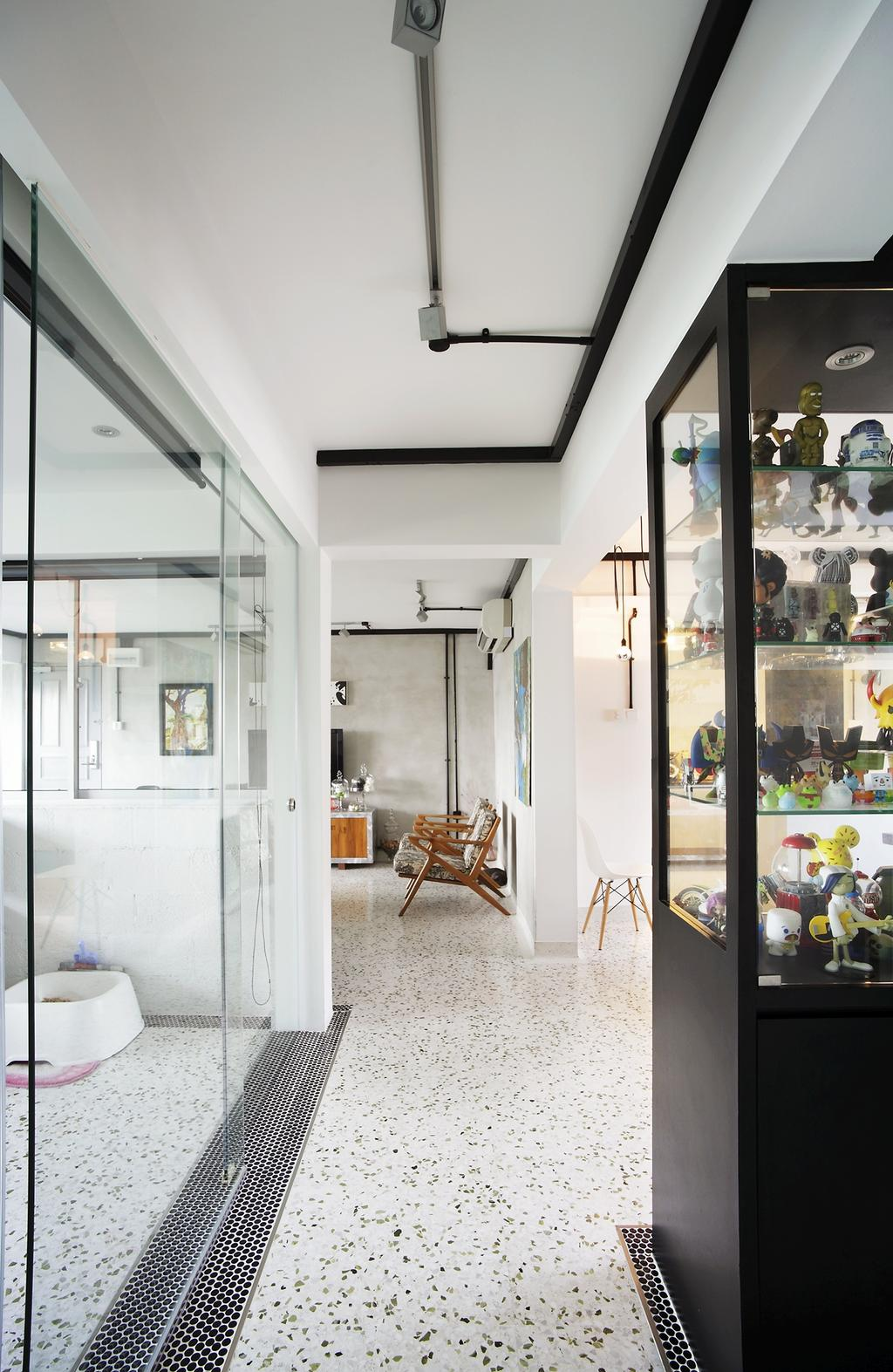 Eclectic, HDB, Living Room, Ang Mo Kio, Interior Designer, Free Space Intent, Spotted Floor, Display Shelf, White Wall