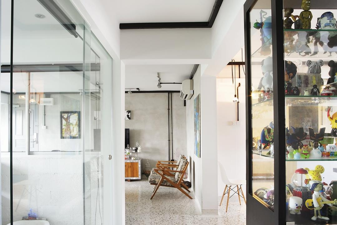 Ang Mo Kio, Free Space Intent, Eclectic, Living Room, HDB, Spotted Floor, Display Shelf, White Wall