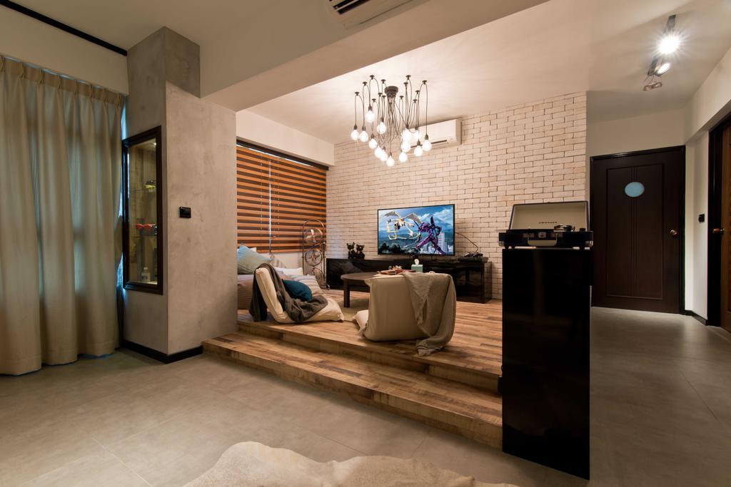 Modern, HDB, Living Room, Punggol Walk, Interior Designer, LS2 Design & Construction, Contemporary, Couch, Furniture, Curtain, Home Decor, Window, Window Shade, Flooring, Building, Housing, Indoors, Loft