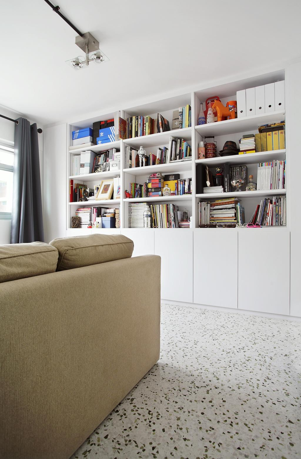 Eclectic, HDB, Study, Ang Mo Kio, Interior Designer, Free Space Intent, Spotted Floor, Book Shelf, Bookshelf, Curtains, Bookcase, Furniture, Couch, Shelf