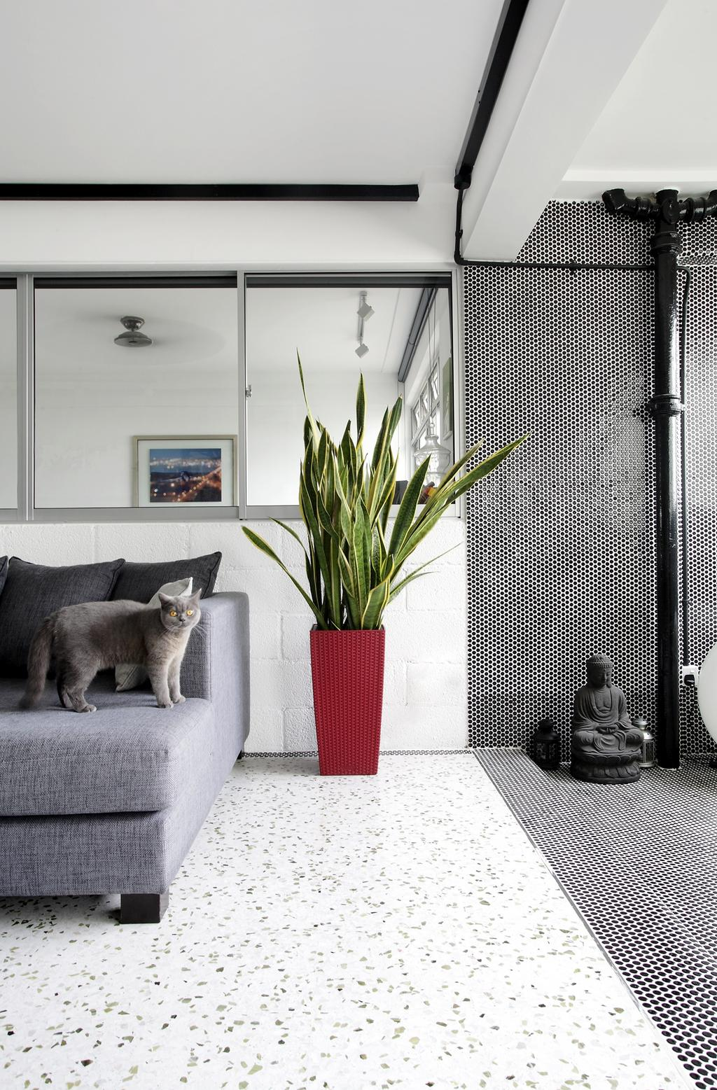 Eclectic, HDB, Living Room, Ang Mo Kio, Interior Designer, Free Space Intent, White Ceiling, Spotted Floor, Grey Sofa, Gray Sofa, Art, Buddha, Worship, Flora, Jar, Plant, Potted Plant, Pottery, Vase, Abyssinian, Animal, Cat, Mammal, Pet