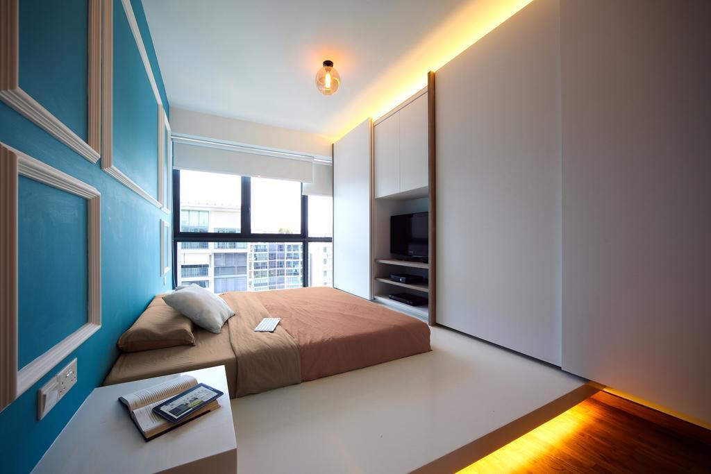 Eclectic, Condo, Bedroom, Esparina Residences (Block 115), Interior Designer, Versaform, Concealed Lighting, Victorian, Blue Wall, Platform Bed, HDB, Building, Housing, Indoors, Loft