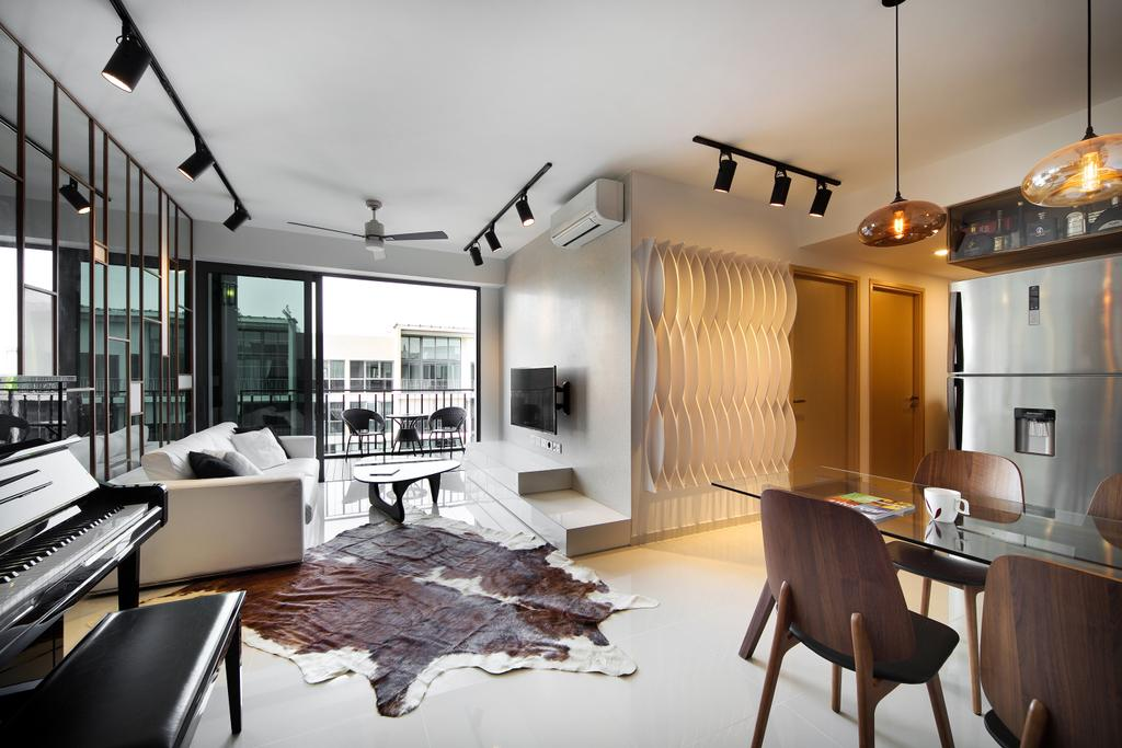 Eclectic, Condo, Living Room, Esparina Residences (Block 115), Interior Designer, Versaform, Cowhide, Track Light, Trackie, Feature Wall, Chair, Furniture, Dining Room, Indoors, Interior Design, Room, Dining Table, Table