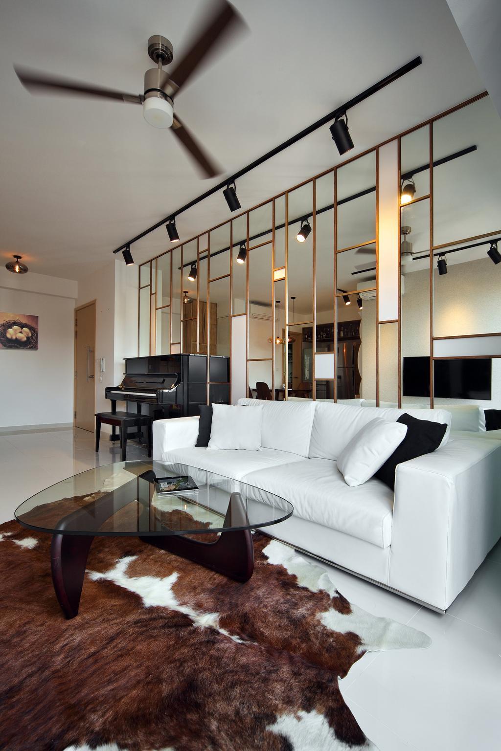 Eclectic, Condo, Living Room, Esparina Residences (Block 115), Interior Designer, Versaform, Glass Table, Cowhide, White Sofa, Track Light, Trackie, Couch, Furniture, Indoors, Interior Design