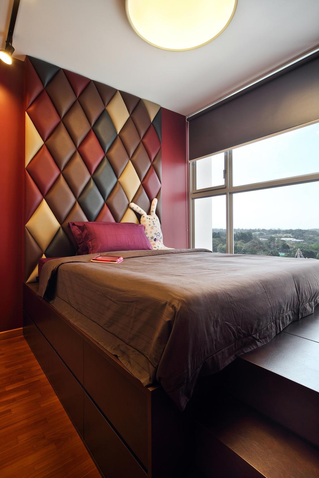 Scandinavian, Condo, Bedroom, The Estuary @ Yishun, Interior Designer, Versaform, Platform Bed, Parquet, Headboard, Bed, Furniture
