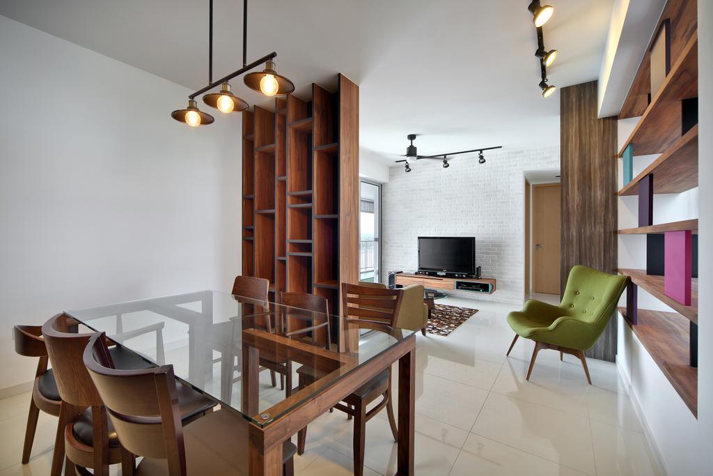 Scandinavian, Condo, Dining Room, The Estuary @ Yishun, Interior Designer, Versaform, Hanging Light, Wood Laminate, Storage, Chair, Furniture, Light Fixture, Indoors, Interior Design, Room
