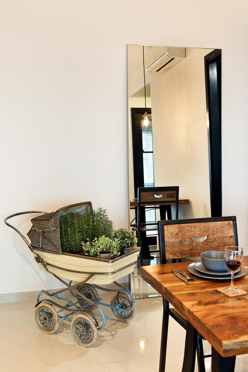 Industrial, Condo, Dining Room, Esparina Residences (Block 111), Interior Designer, Versaform, Full Length Mirror, Flora, Jar, Plant, Potted Plant, Pottery, Vase, Planter, Bowl, Indoors, Interior Design