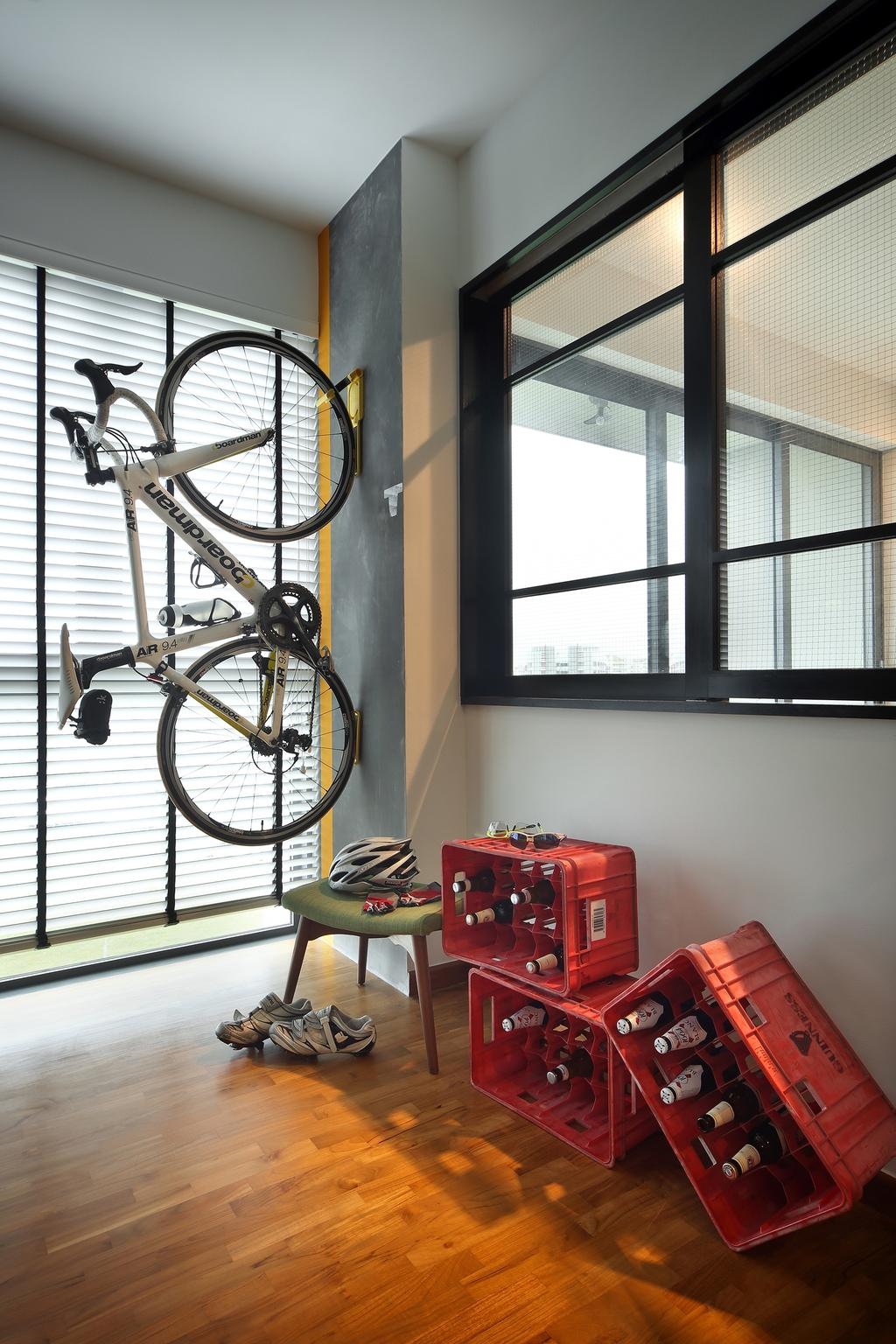 Industrial, Condo, Study, Esparina Residences (Block 111), Interior Designer, Versaform, Blinds, Parquet, Bicycle, Bike, Transportation, Vehicle, Chair, Furniture