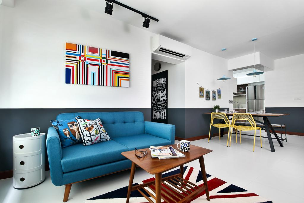 Eclectic, HDB, Living Room, Punggol Parc Vista, Interior Designer, Versaform, Blue Sofa, Art, Trackie, Track Light, Couch, Furniture, Dining Table, Table, Chair, Indoors, Room