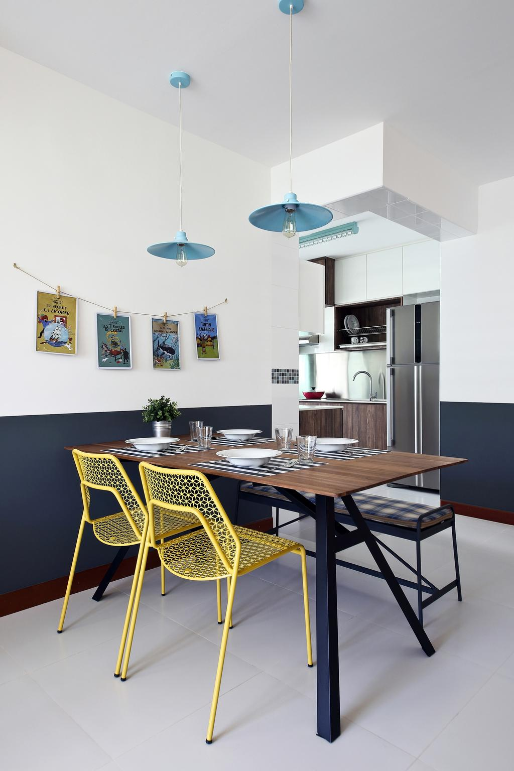 Eclectic, HDB, Dining Room, Punggol Parc Vista, Interior Designer, Versaform, Yellow Chair, Hanging Light, Chair, Furniture, Indoors, Interior Design, Room, Dining Table, Table
