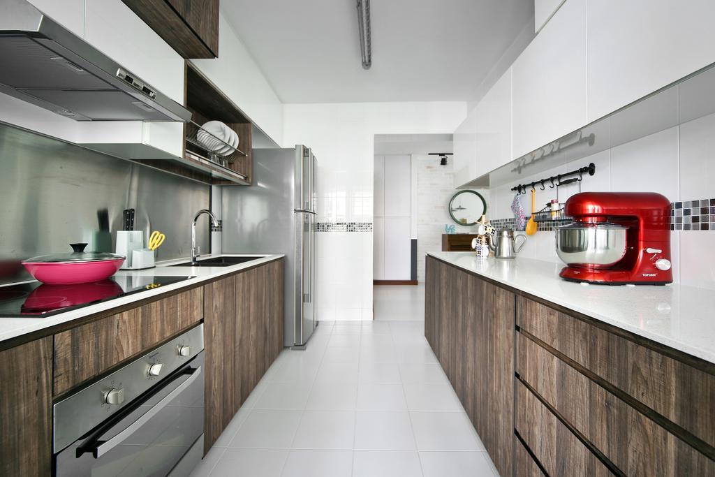 Eclectic, HDB, Kitchen, Punggol Parc Vista, Interior Designer, Versaform, Wood Laminate, Machine, Indoors, Interior Design, Room