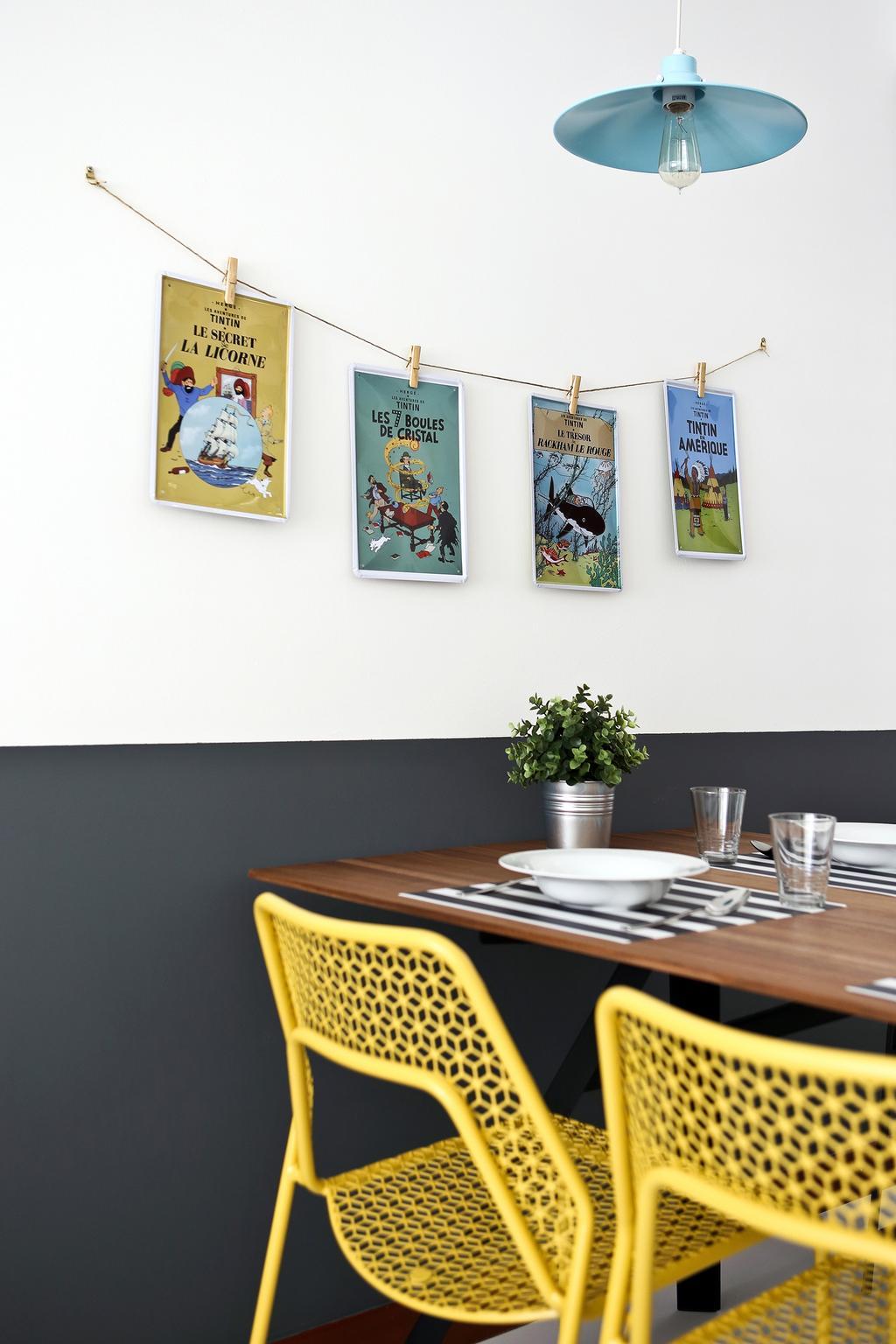 Eclectic, HDB, Dining Room, Punggol Parc Vista, Interior Designer, Versaform, Hanging Light, Yellow Chair, Indoors, Interior Design, Room, Dining Table, Furniture, Table