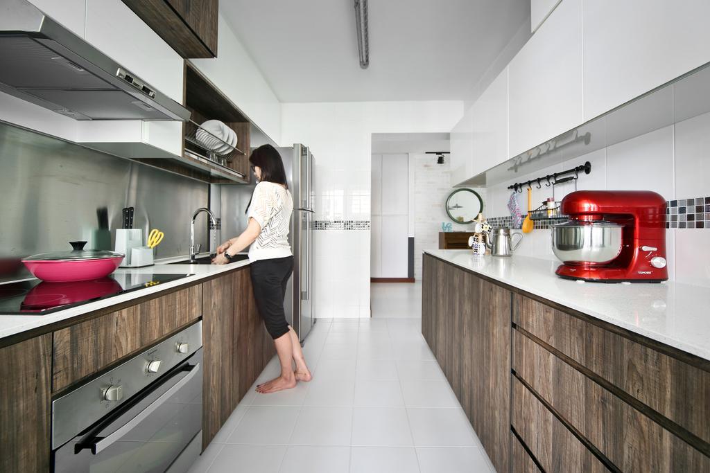 Eclectic, HDB, Kitchen, Punggol Parc Vista, Interior Designer, Versaform, Wood Laminate, Tiles, Mosaic, Machine, Indoors, Interior Design, Room