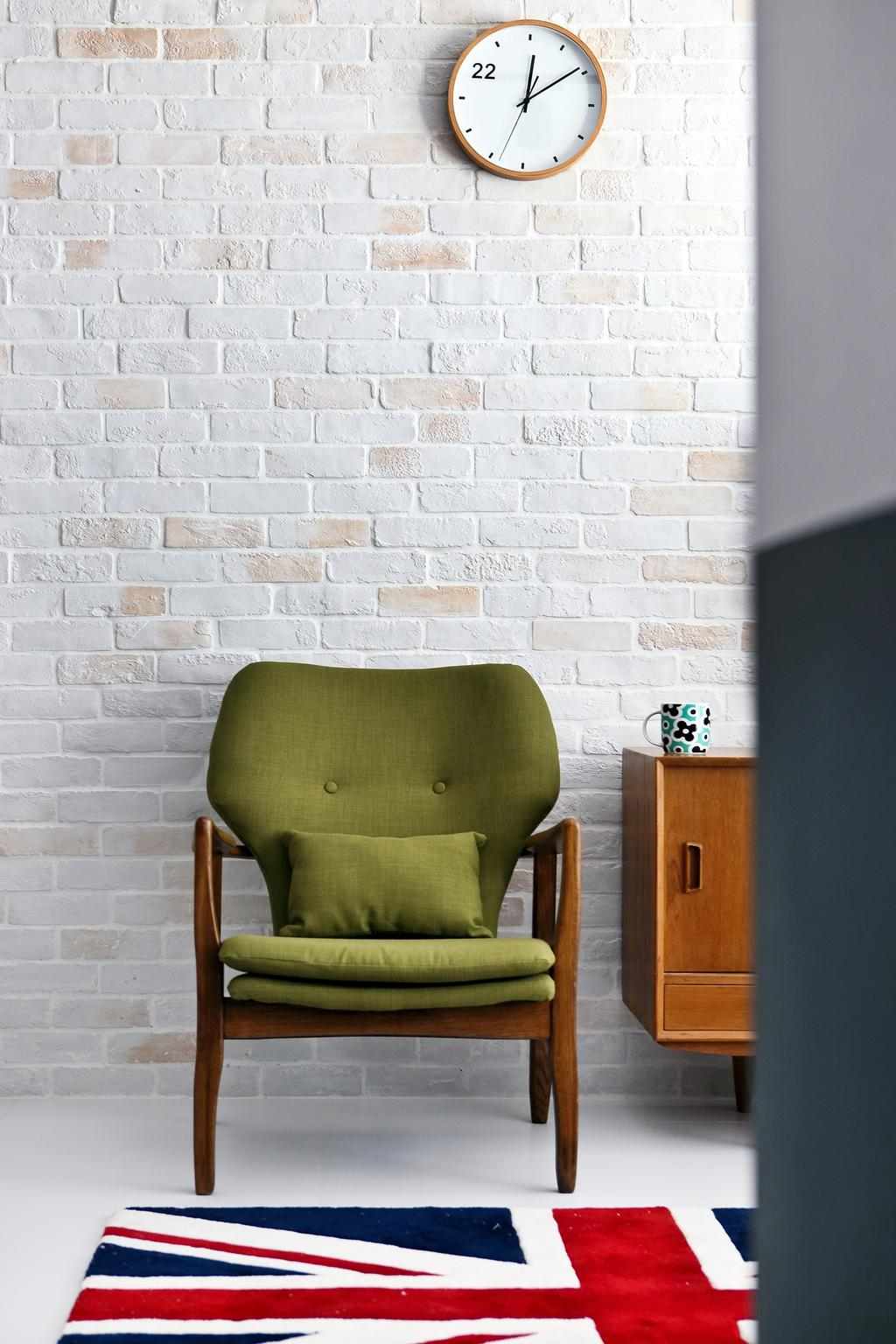 Eclectic, HDB, Living Room, Punggol Parc Vista, Interior Designer, Versaform, Brick Wall, Green Chair, Rug, Carpet, Chair, Furniture, Wall