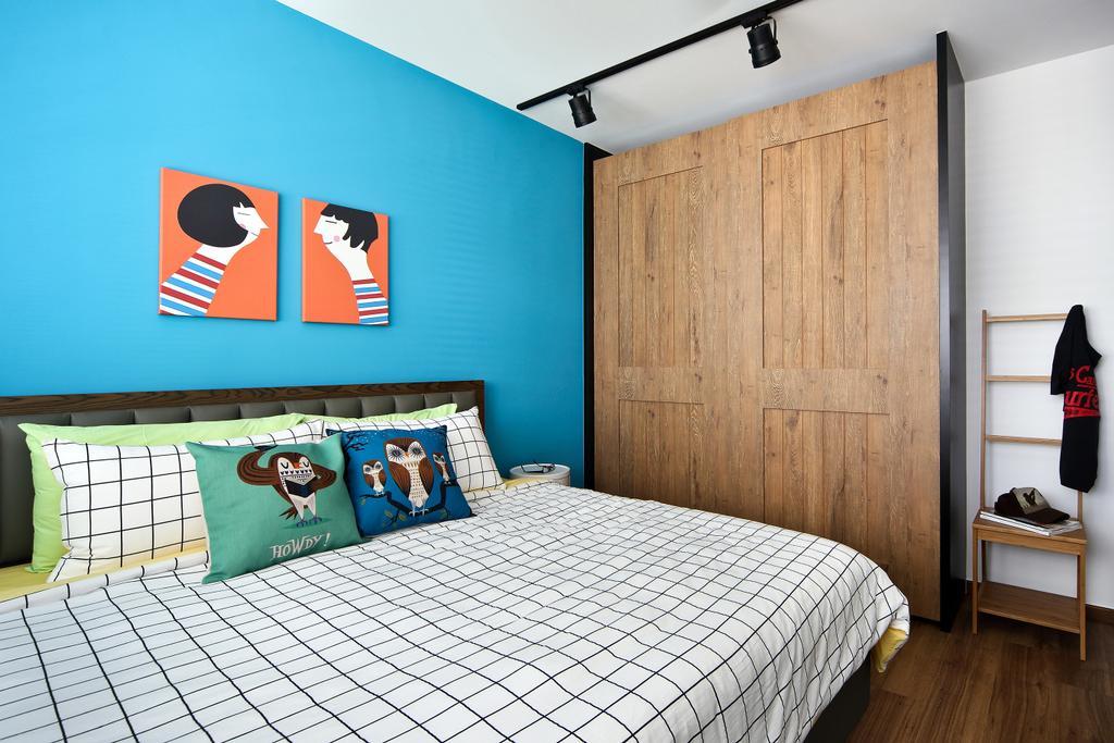 Eclectic, HDB, Bedroom, Punggol Parc Vista, Interior Designer, Versaform, Blue Wall, Track Light, Trackie, Parquet, Wood Laminate, Art, Indoors, Interior Design, Room