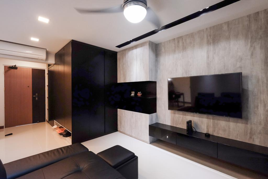 Industrial, HDB, Living Room, Punggol Way (Block 315B), Interior Designer, Nitty Gritty Interior, White Ceramic Floor, Wooden Panel, Wall Mounted Television, Floating Television Console, Modern Contemporary Living Room, Recessed Lights, Hanging Lights