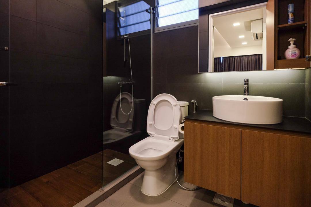 Punggol Way (Block 315B), Nitty Gritty Interior, Industrial, Bathroom, HDB, Modern Contemporary Bathroom, Wooden Cabinet, Wooden Cupboard, Protruding Sink, Ceramic Floor, Glass Panelled Shower
